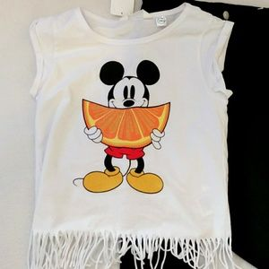 H&M Mickey Mouse Fringe Tee Size 10-12